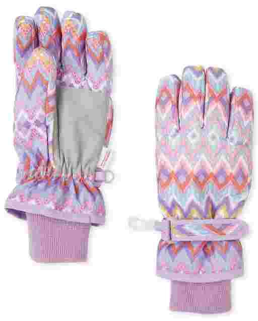Girls Chevron Print Ski Gloves