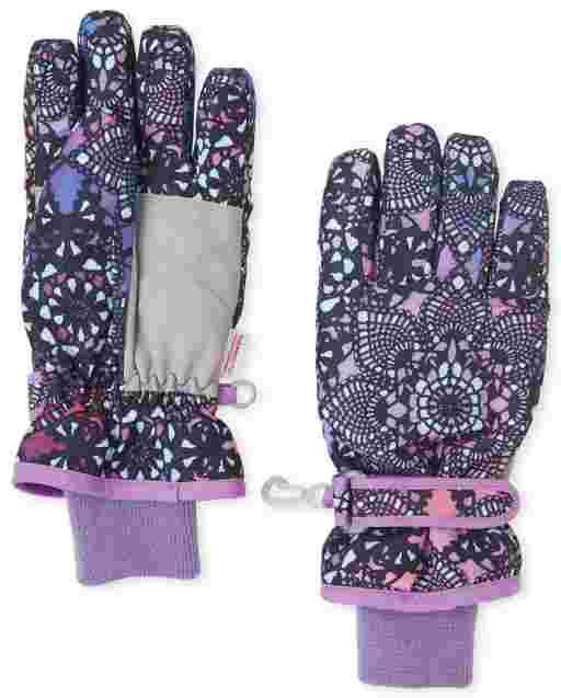 Girls Floral Print Ski Gloves