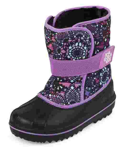 Girls Print Snow Boots