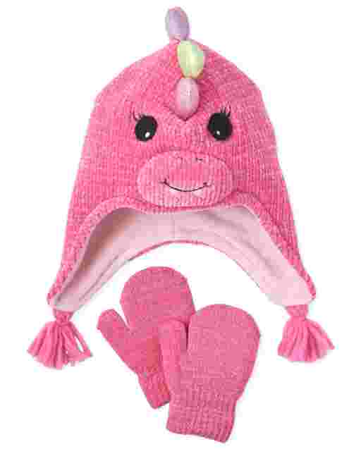 Toddler Girls Dino Hat And Mittens Set