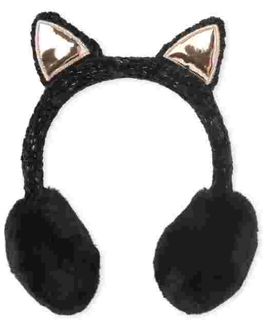 Girls Cat Chenille Ear Muffs