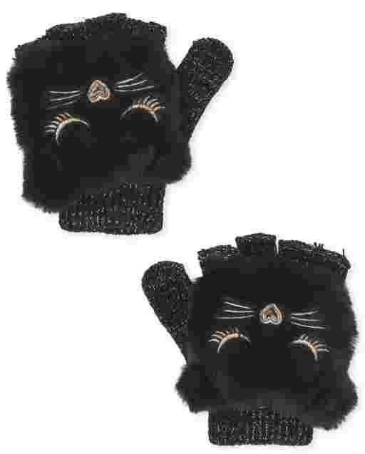 Girls Cat Faux Fur And Chenille Gloves