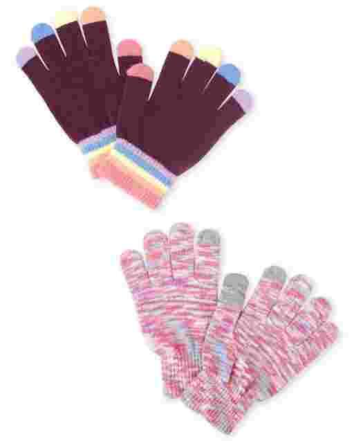 Girls Rainbow Texting Gloves 2-Pack