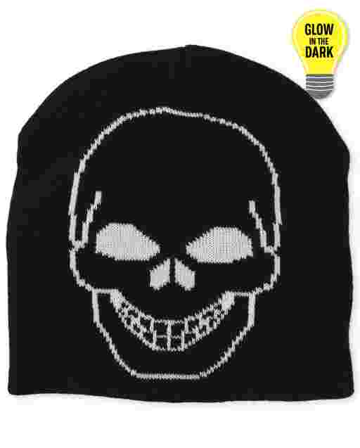 Boys Glow In The Dark Skull Beanie