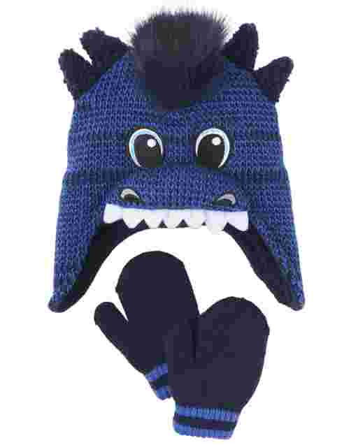 Toddler Boys Dino Hat And Mittens Set