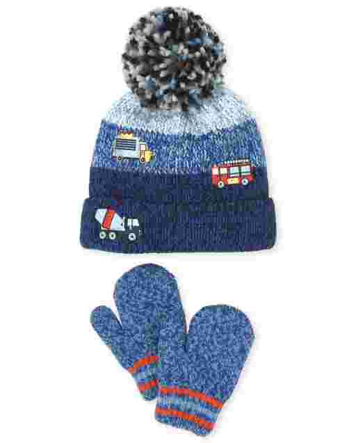 Toddler Boys Transportation Pom Pom Beanie And Mittens Set