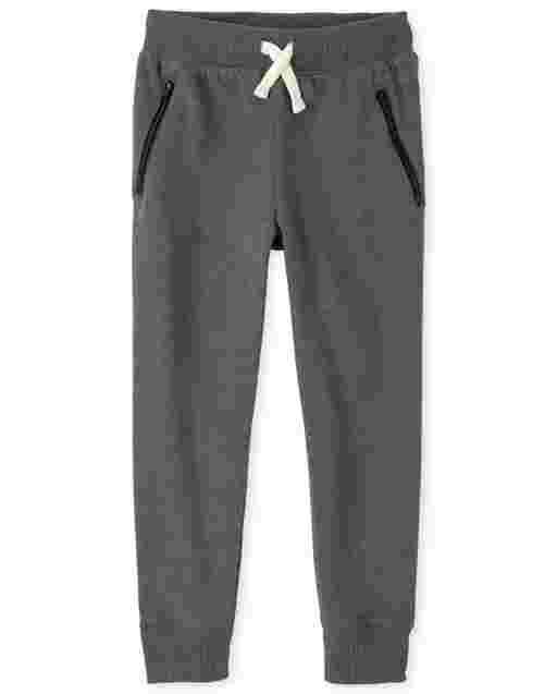 Boys Active Zip Fleece Jogger Pants
