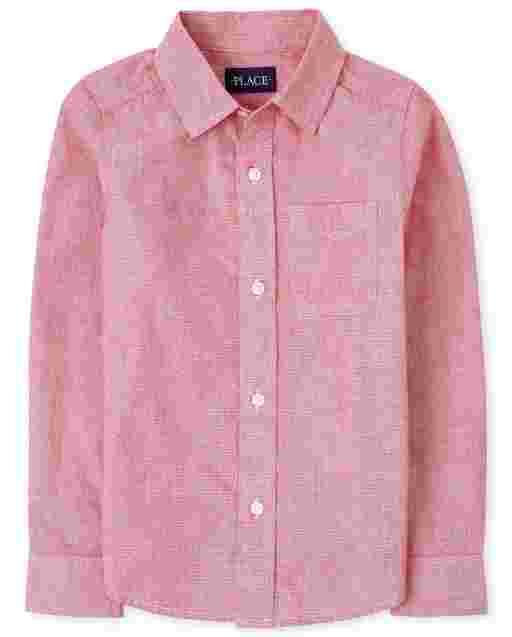 Boys Long Sleeve Poplin Button Down Shirt