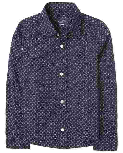 Boys Long Sleeve Dot Print Poplin Button Down Shirt