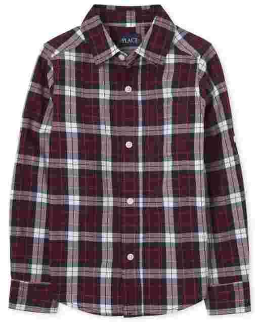 Boys Long Roll Up Sleeve Plaid Poplin Button Down Shirt