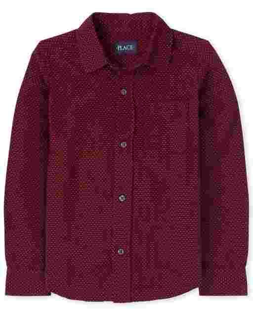 Boys Long Sleeve Dobby Button Down Shirt