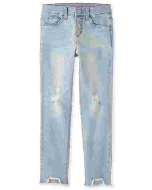 Girls Step Hem Distressed Denim Straight Jeans