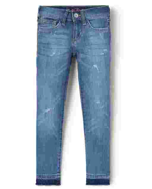 Girls Let Down Hem Distressed Denim Super Skinny Jeans