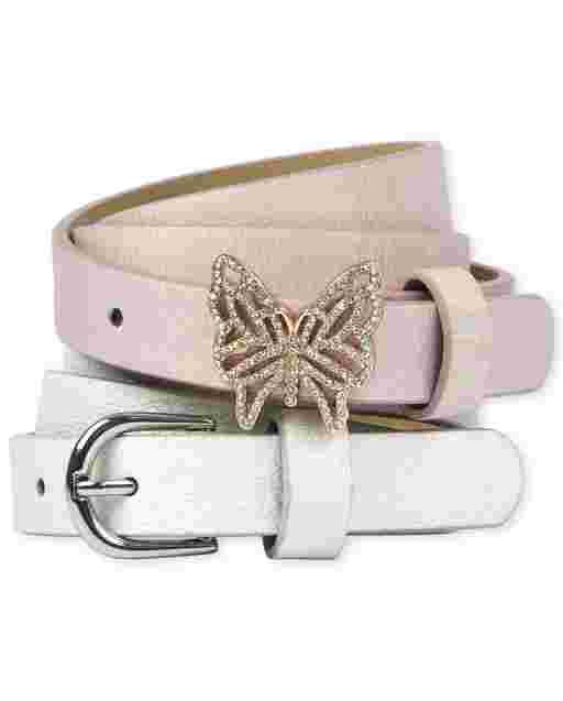 Girls Glitter Butterfly Belt 2-Pack
