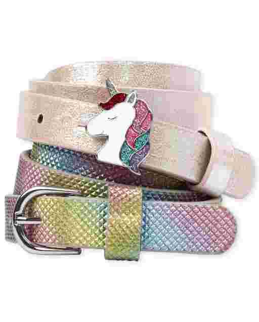 Girls Rainbow Unicorn Belt 2-Pack