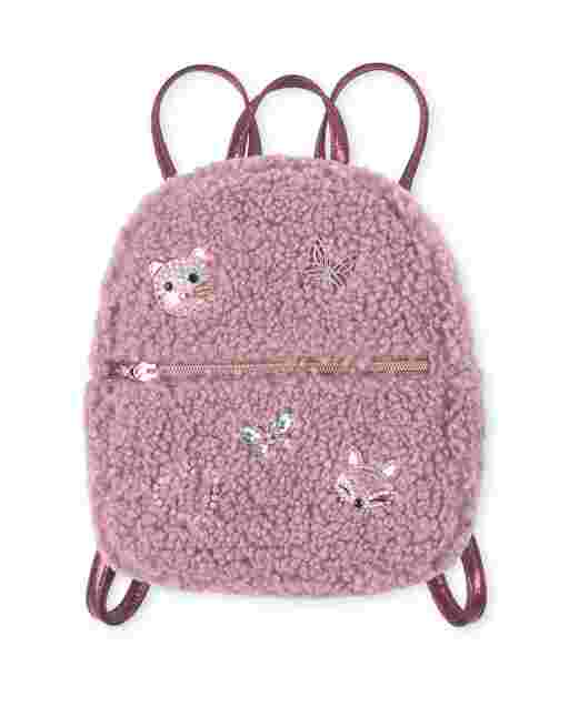 Girls Jeweled Critter Sherpa Mini Backpack