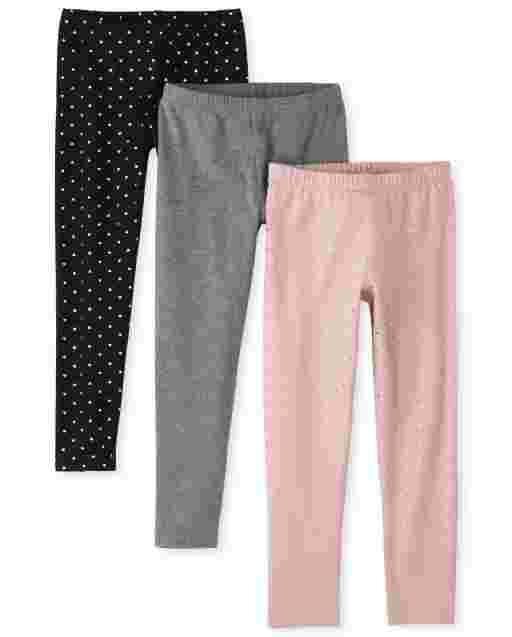 Girls Foil Heart Knit Leggings 3-Pack