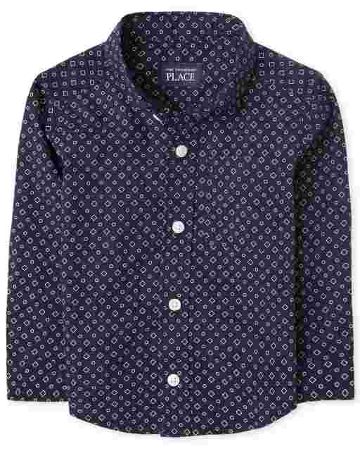 Baby And Toddler Boys Long Sleeve Print Poplin Button Down Shirt