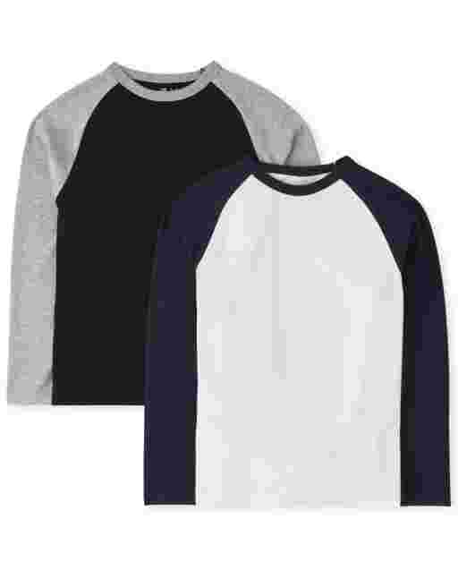 Boys Long Sleeve Raglan Top 2-Pack