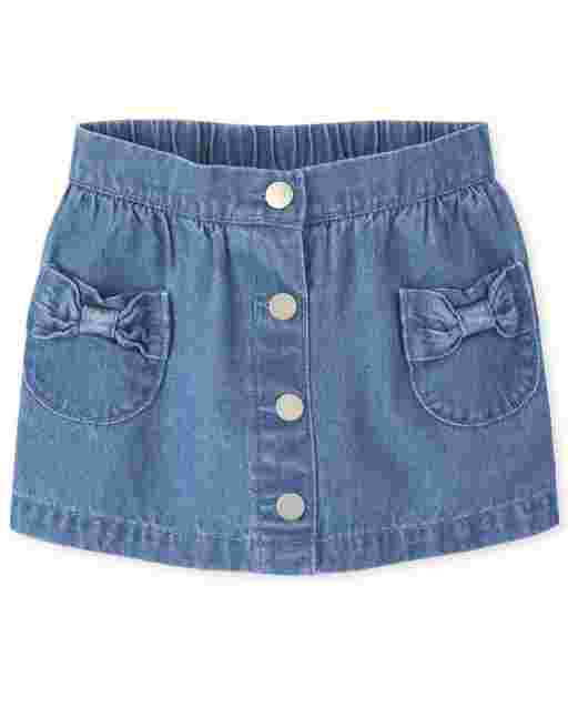Baby And Toddler Girls Button Denim Skort