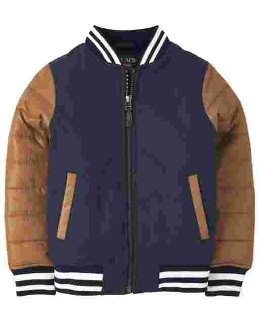 Boys Long Sleeve Warmcore PrimaLoft Varsity Bomber Jacket