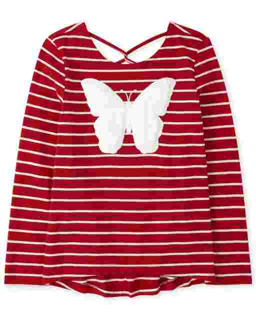 Girls Long Sleeve Faux Fur Butterfly Striped Cross Back Top
