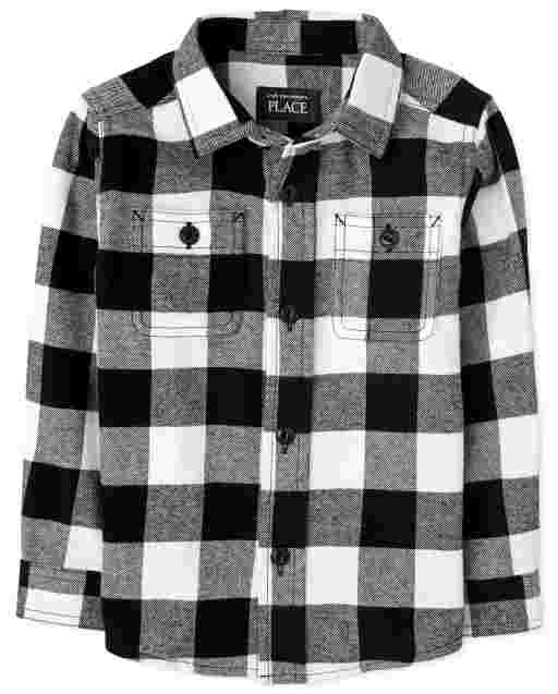 Baby And Toddler Boys Matching Family Long Sleeve Buffalo Plaid Flannel Button Down Shirt