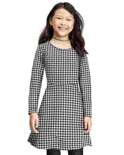 Girls Long Sleeve Houndstooth Knit Skater Dress