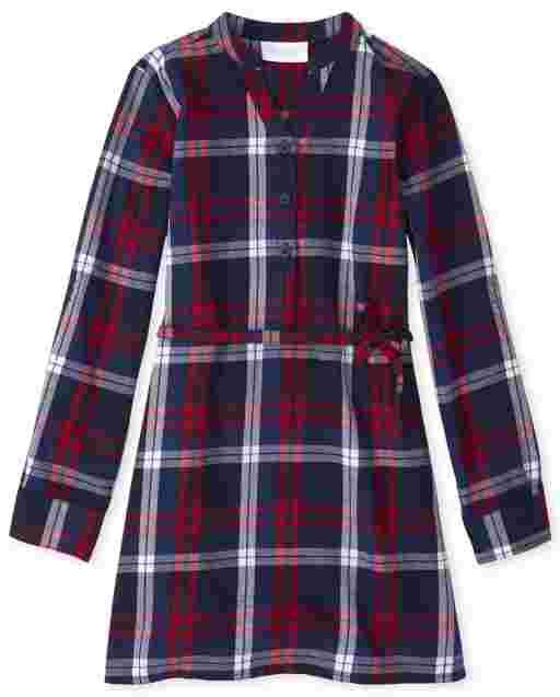 Girls Matching Family Long Sleeve Plaid Twill Shirt Dress