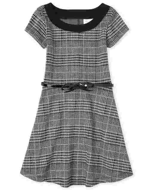 Girls Short Sleeve Houndstooth Print Knit Fit And Flare Dress