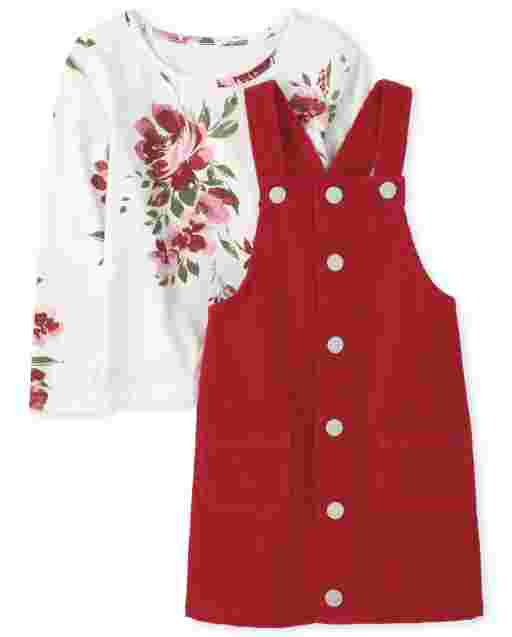 Toddler Girls Long Sleeve Floral Print Top And Corduroy Skirtall Outfit Set
