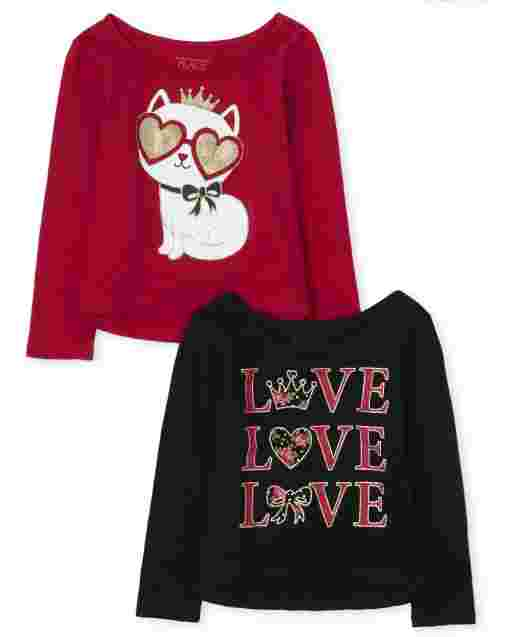 Toddler Girls Long Sleeve Glitter Love And Cat Graphic Top 2-Pack
