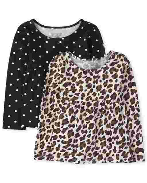 Toddler Girls Long Sleeve Leopard And Dot Print Tunic Top 2-Pack
