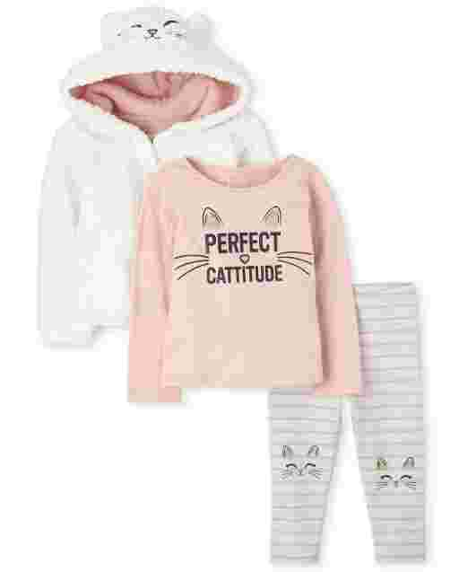 Toddler Girls Long Sleeve Sherpa Zip Up Hoodie Top And Striped Leggings Cat Outfit Set