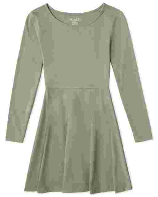Girls Long Sleeve Knit Essential Skater Dress