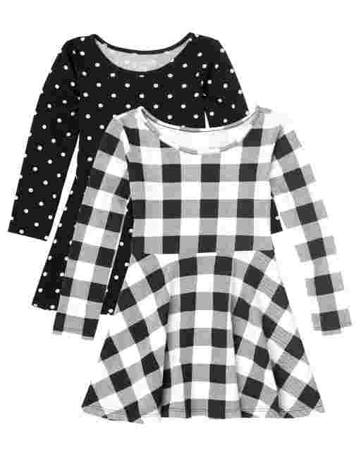 Toddler Girls Long Sleeve Dot And Buffalo Plaid Print Knit Skater Dress 2-Pack