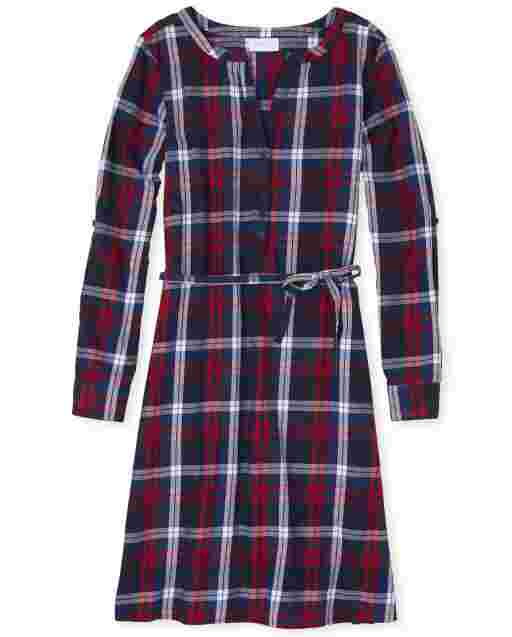 Womens Matching Family Long Sleeve Plaid Twill Shirt Dress