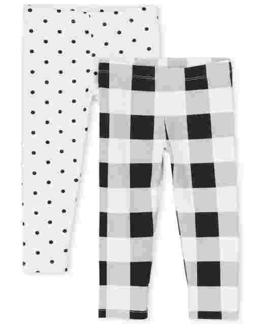 Toddler Girls Dot Print And Buffalo Plaid Knit Leggings 2-Pack