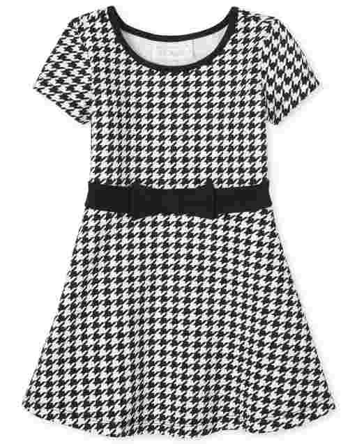 Baby And Toddler Girls Short Sleeve Houndstooth Ponte Knit Dress