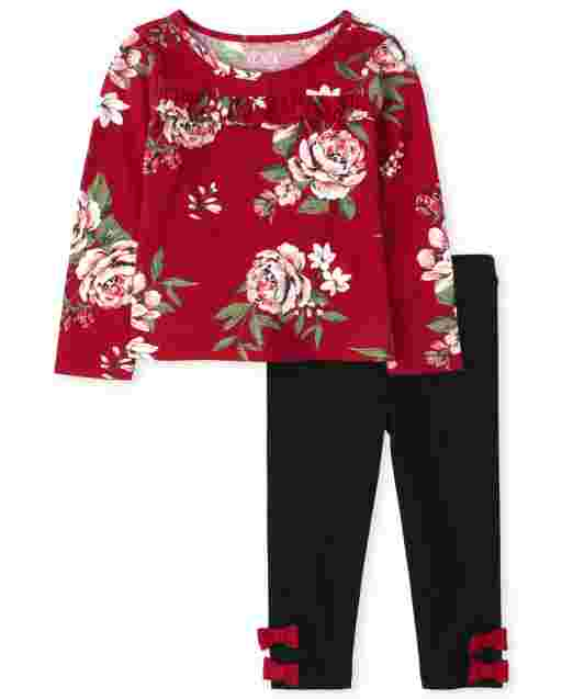 Toddler Girls Long Sleeve Floral Print Ruffle Top And Bow Leggings Outfit Set