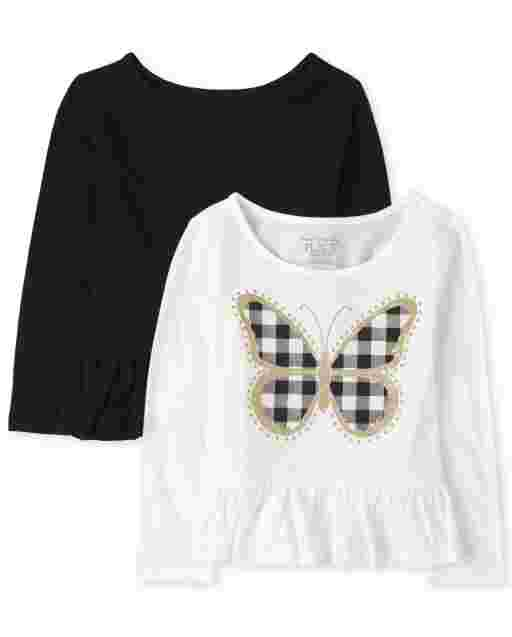 Toddler Girls Long Sleeve Butterfly And Solid Peplum Top 2-Pack