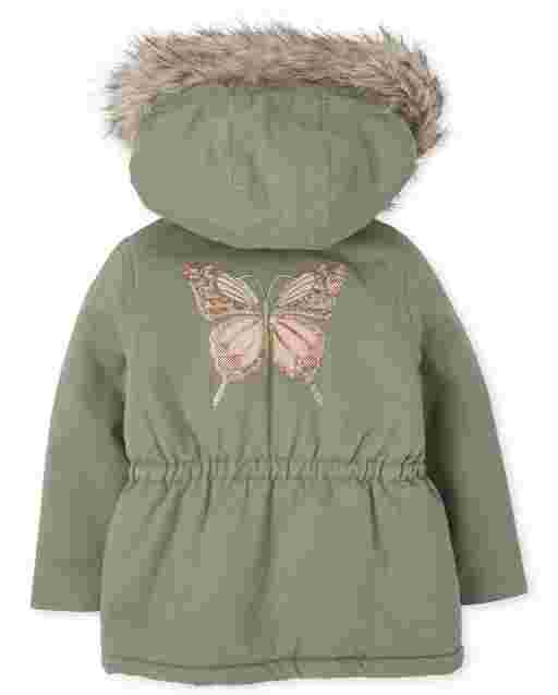 Toddler Girls Long Sleeve Sequin Butterfly Faux Fur Hooded Parka Jacket
