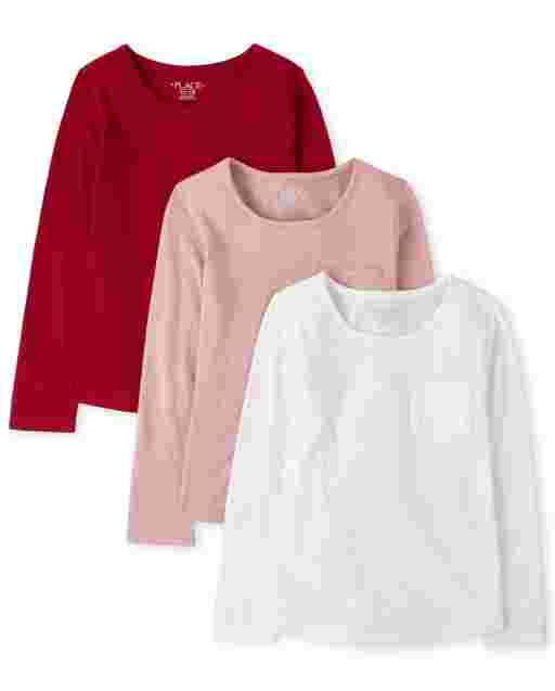 Girls Long Sleeve Pocket Top 3-Pack