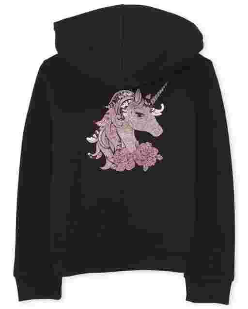 Girls Long Sleeve Glitter Sherpa Zip Up Hoodie