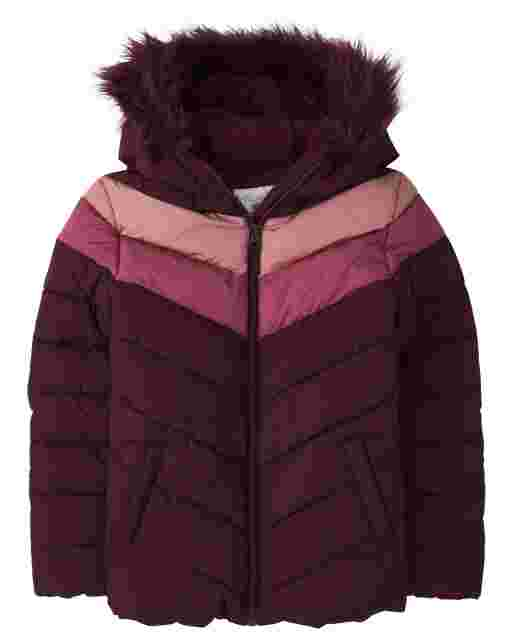Girls Long Sleeve Chevron Faux Fur Hooded Puffer Jacket