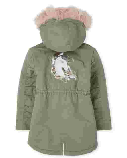 Girls Long Sleeve Sequin Unicorn Faux Fur Hooded Parka Jacket