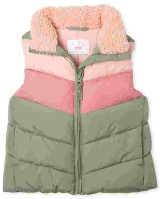 Girls Sleeveless Chevron Puffer Vest