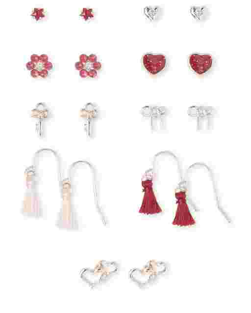Girls Tassel Heart Earrings 9-Pack