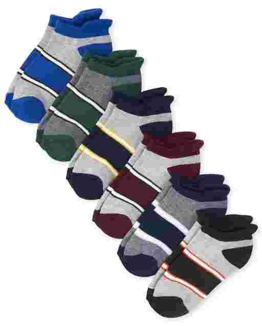 Boys Colorblock Ankle Socks 6-Pack