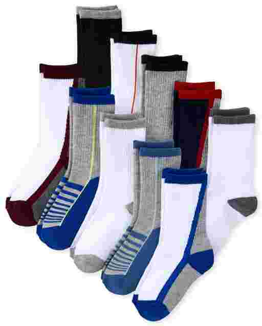 Boys Striped Athletic Crew Socks 10-Pack